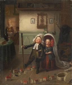 Pfarrerskinder, a German word for preacher's kids, play church.    Johann Peter Hasenclever, c. 1847.  Wikimedia Commons.